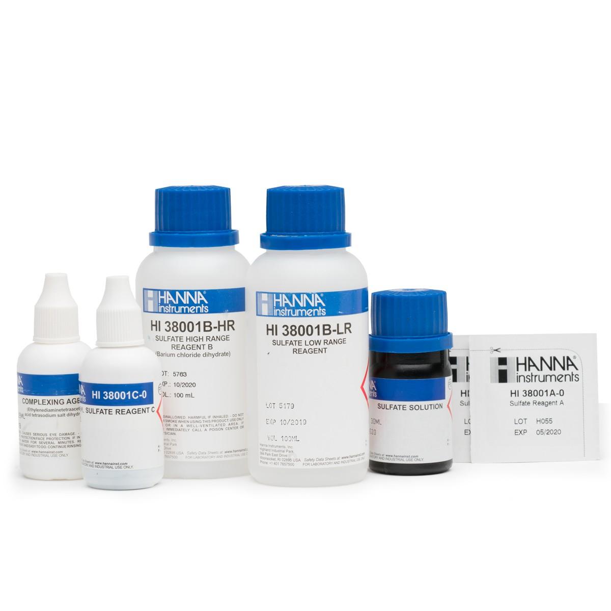 Reactivos de Reemplazo para el Kit de Prueba para Sulfato (Rango Bajo y Alto) (100 pruebas) - HI38001-10