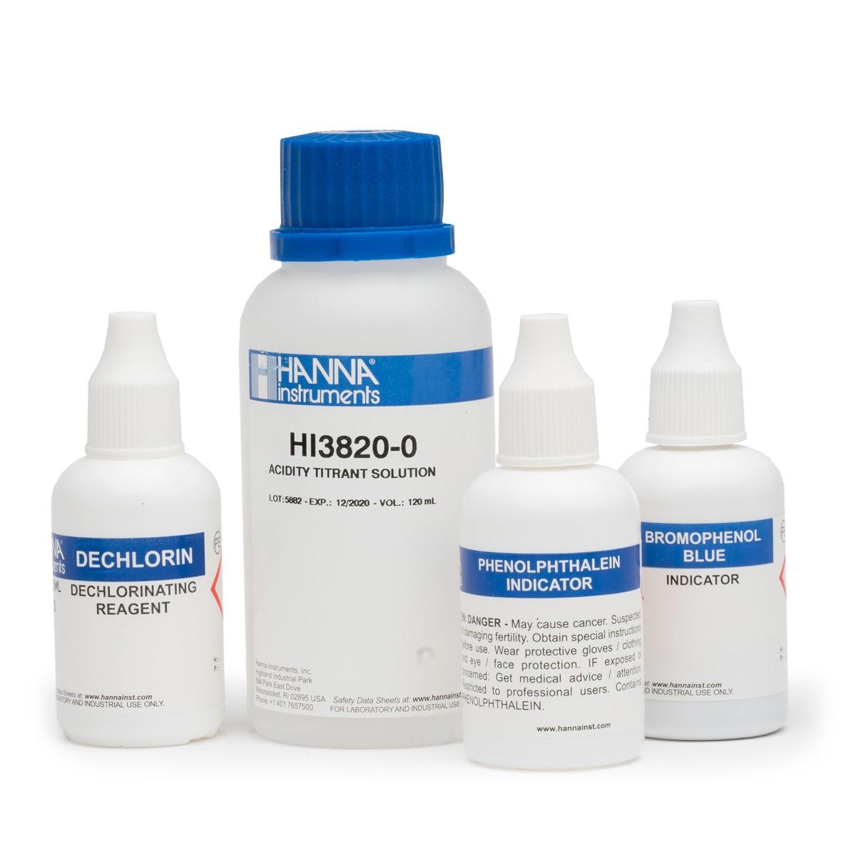 Reactivos de Reemplazo del Kit de Pruebas para Acidez (100 Pruebas) - HI3820-100