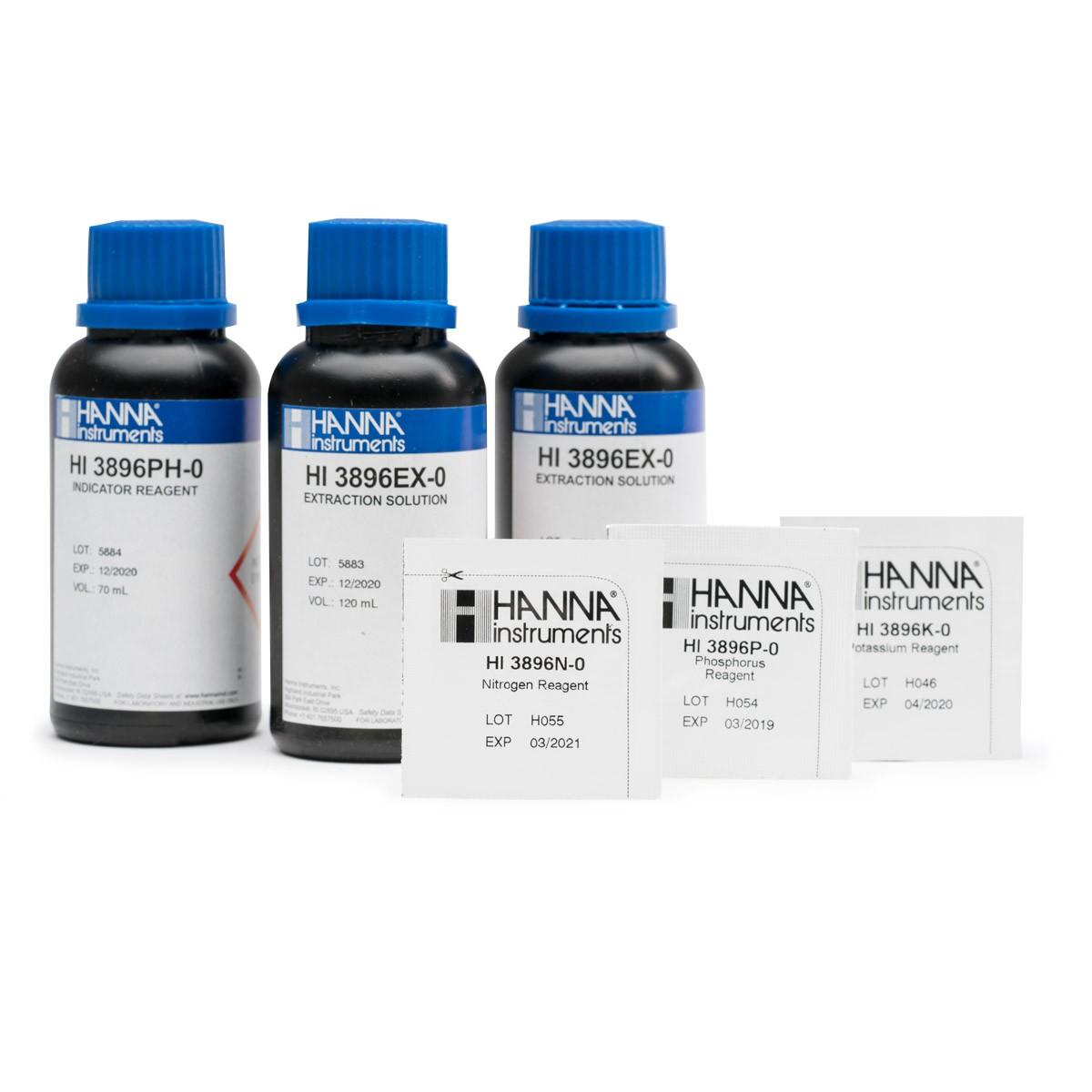 Reactivos de Reemplazo del Kit Químico de Pruebas de Suelo NPK (25 Pruebas) - HI3896-025