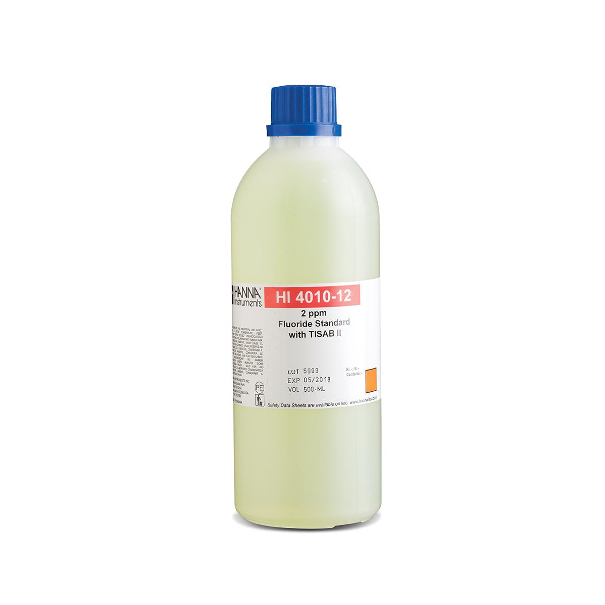 Solución Estándar de Fluoruro de 2 ppm con TISAB II para ISE - HI4010-12