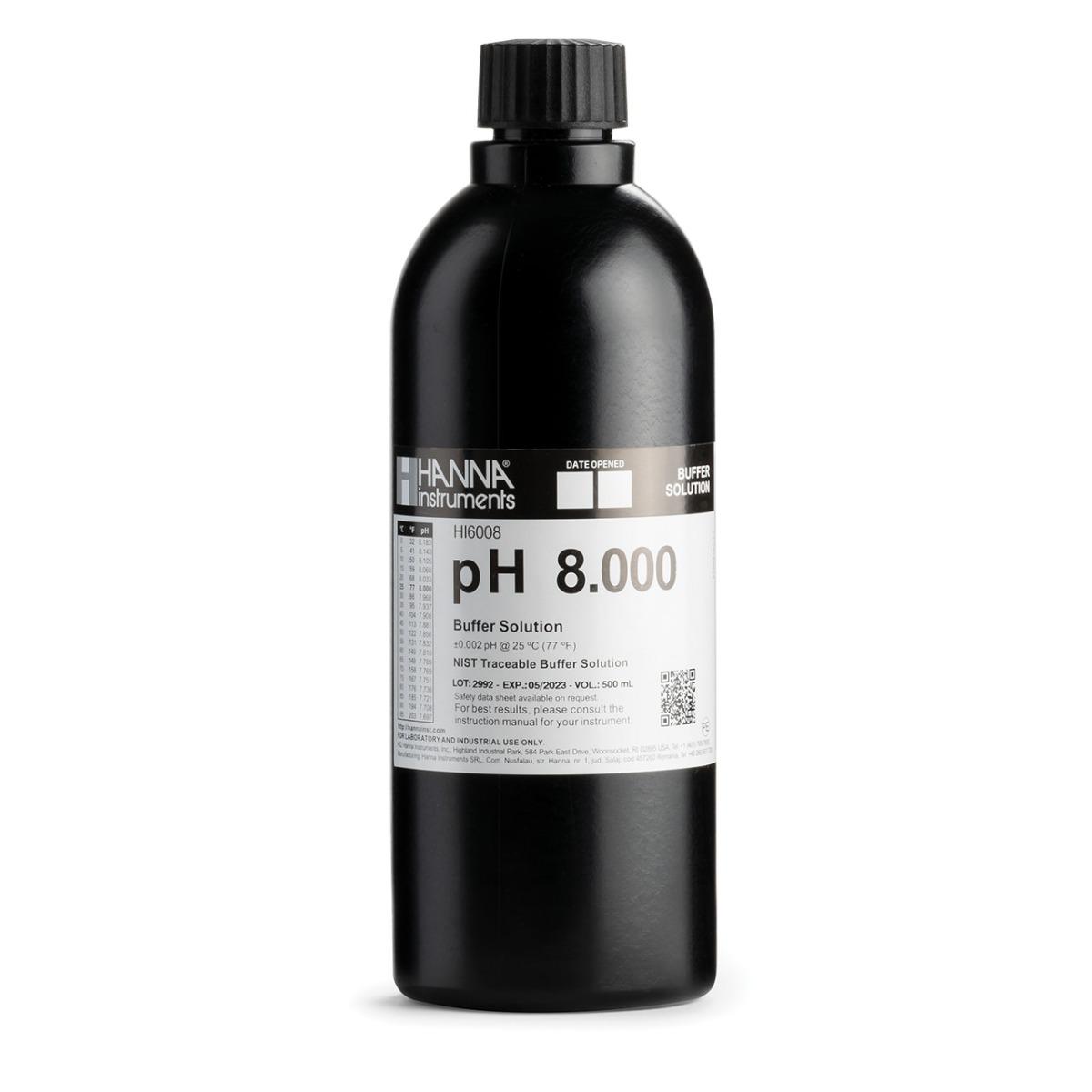HI6008 pH 8.000 Millesimal Calibration Buffer (500 mL)