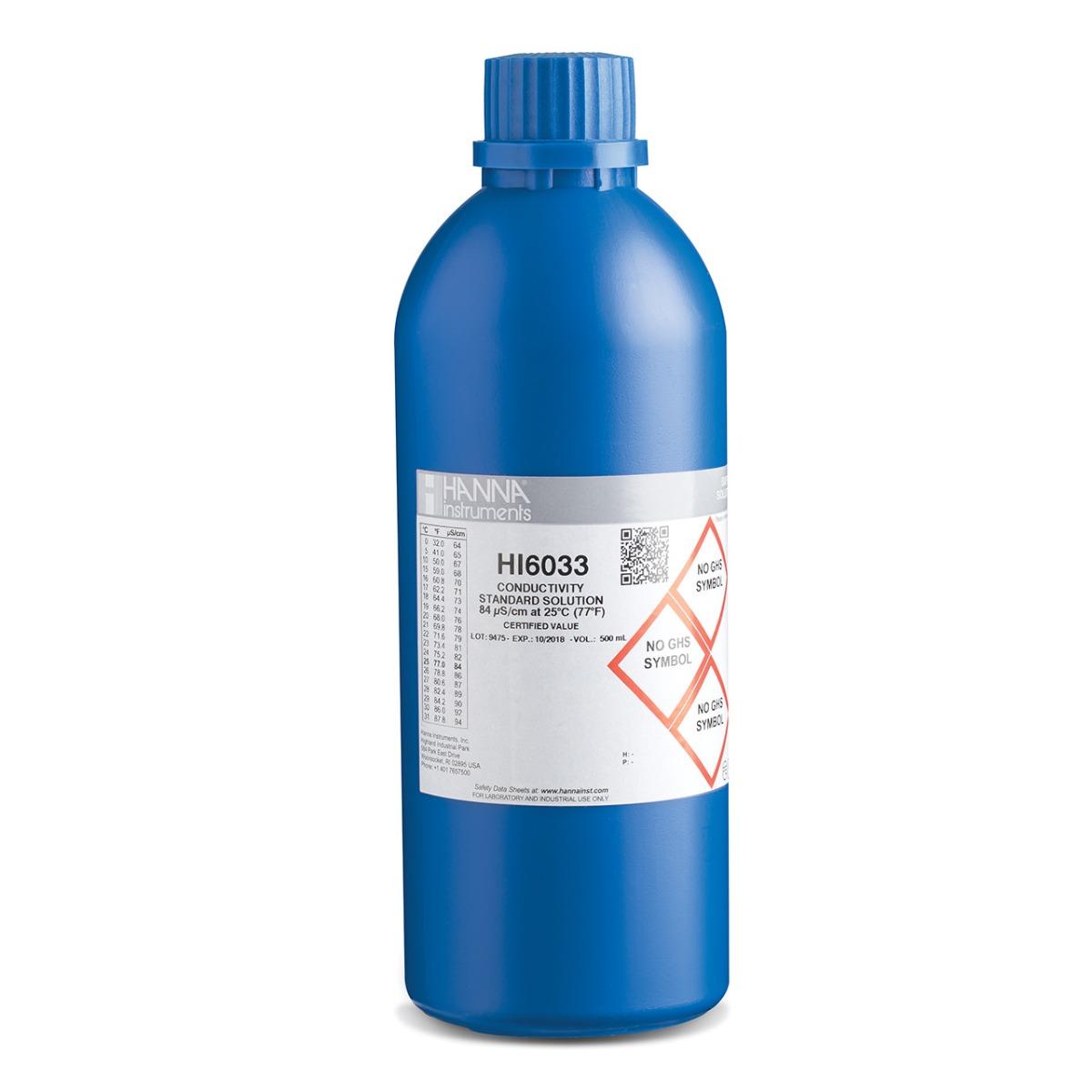 HI6033 84 µS/cm EC (500 mL) bottle with certificate