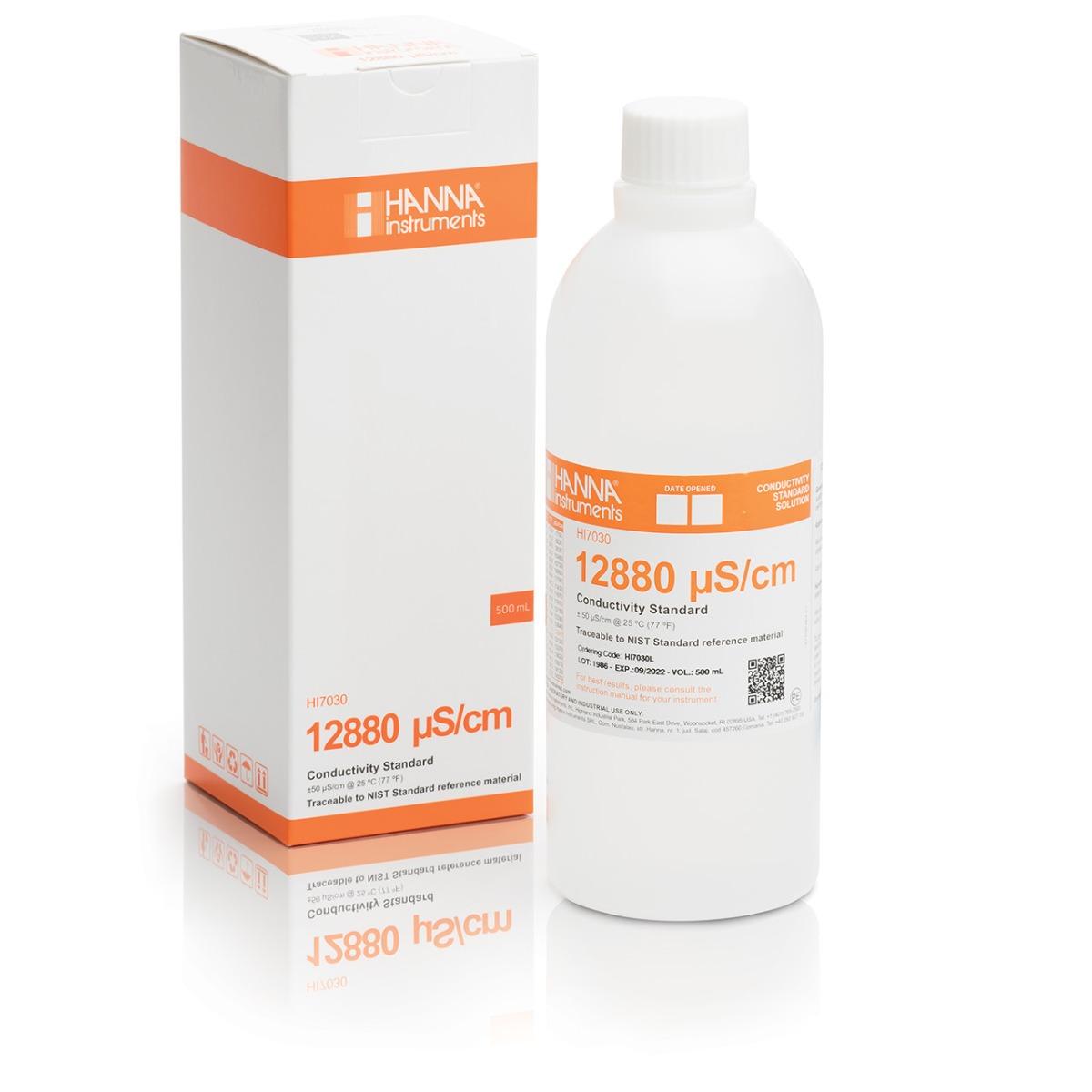 Solución Estándar de Conductividad 12880 µS/cm (Botella 500mL) - HI7030L
