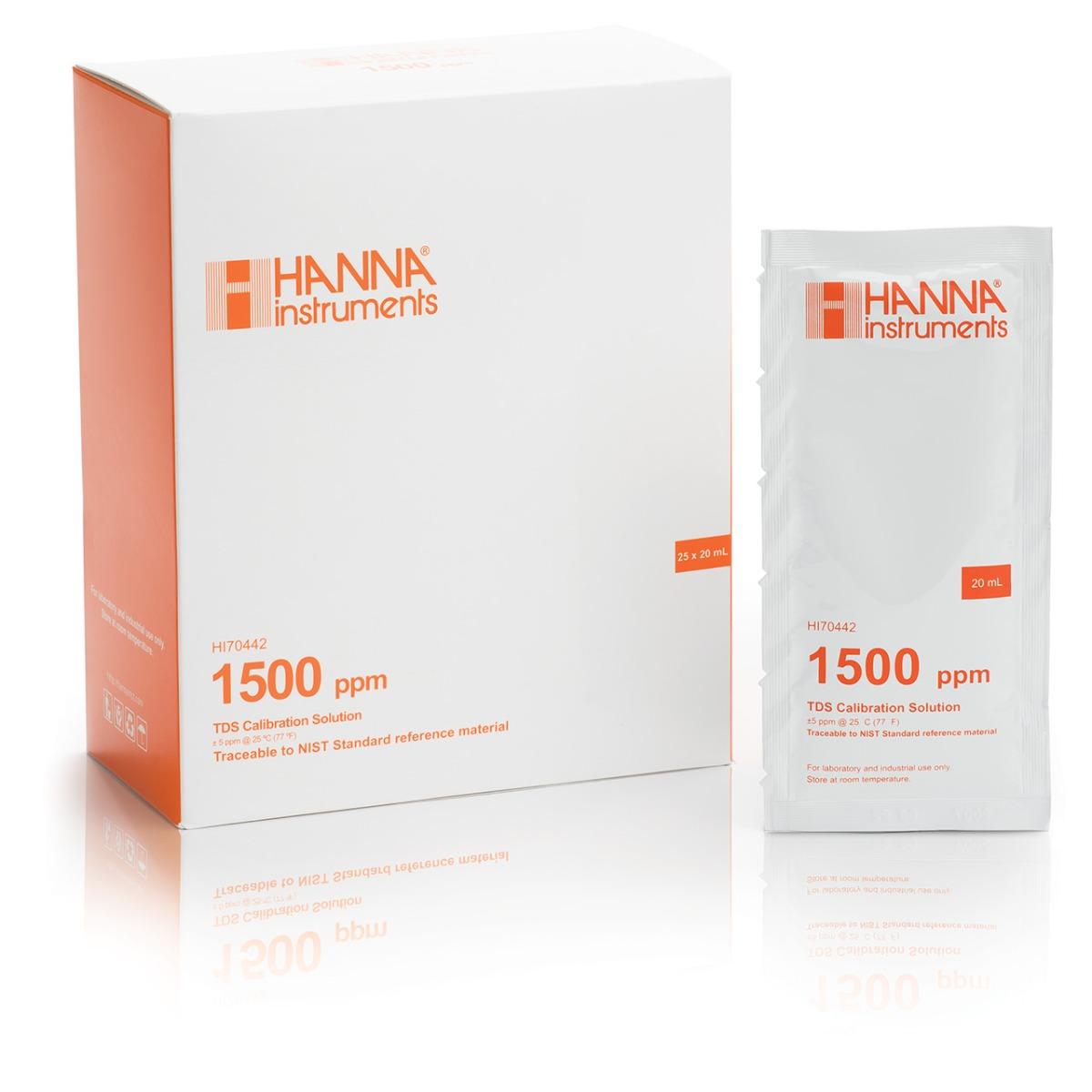Solución de Calibración de TDS 1500 mg/L (ppm) (25 x 20 mL) - HI70442P