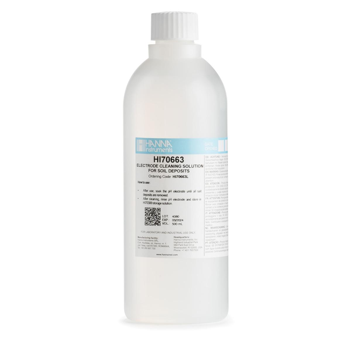 HI70663L Cleaning Solution for Soil Deposits (500 mL)