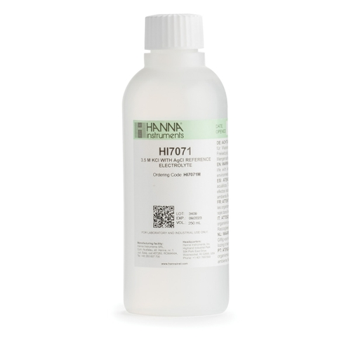 HI7071M Electrolyte Fill Solution, 3.5M KCl + AgCl (230 mL)