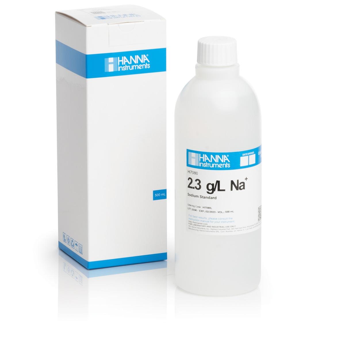 Solución Estándar de Sodio de 2.3 g/L, 500 mL - HI7080L