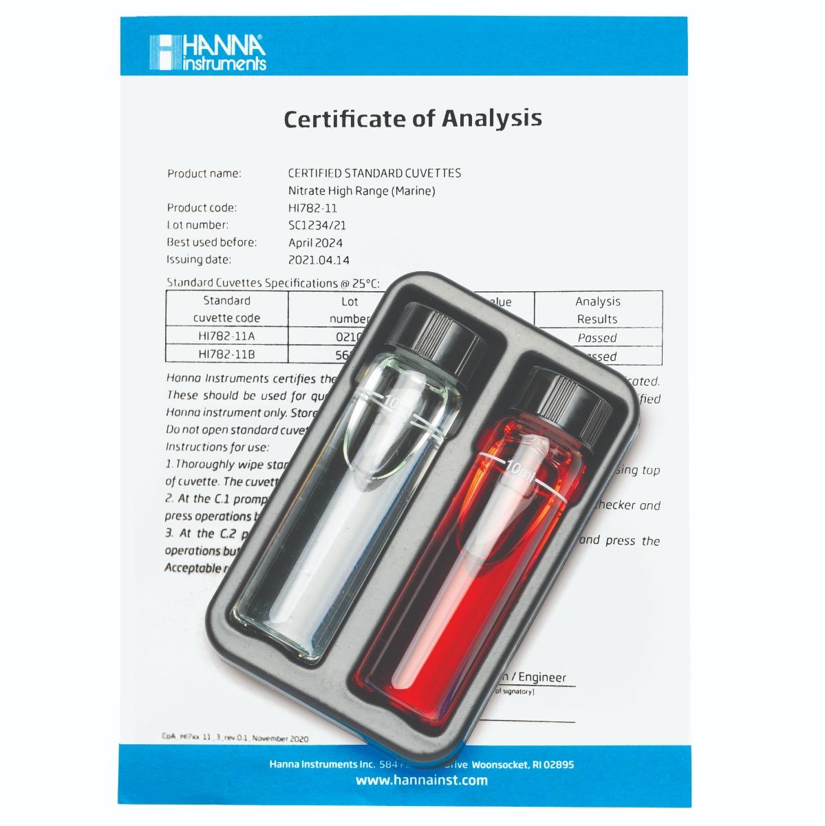 Set de Verificación de Calibración para Checker HC de Nitrato Marino de Rango Alto - HI782-11