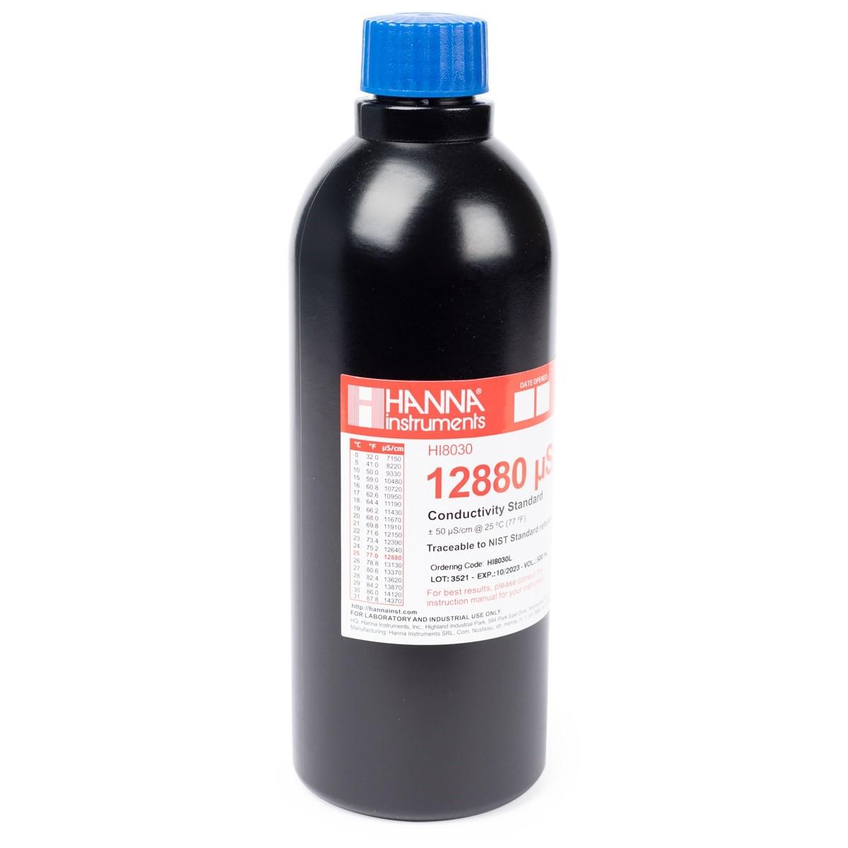 Solución Estándar para Conductividad 12.880 µS/cm en Botella FDA (500 mL) - HI8030L