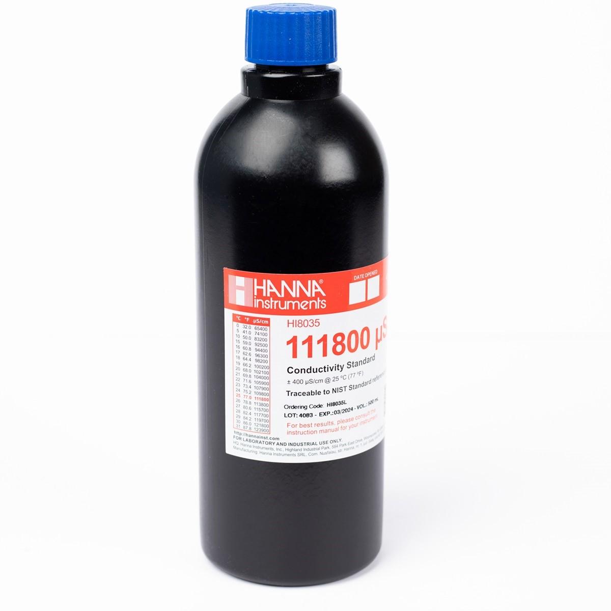 Solución Estándar de Conductividad de 111.800 μS/cm en Botella FDA (500 ml) - HI8035L