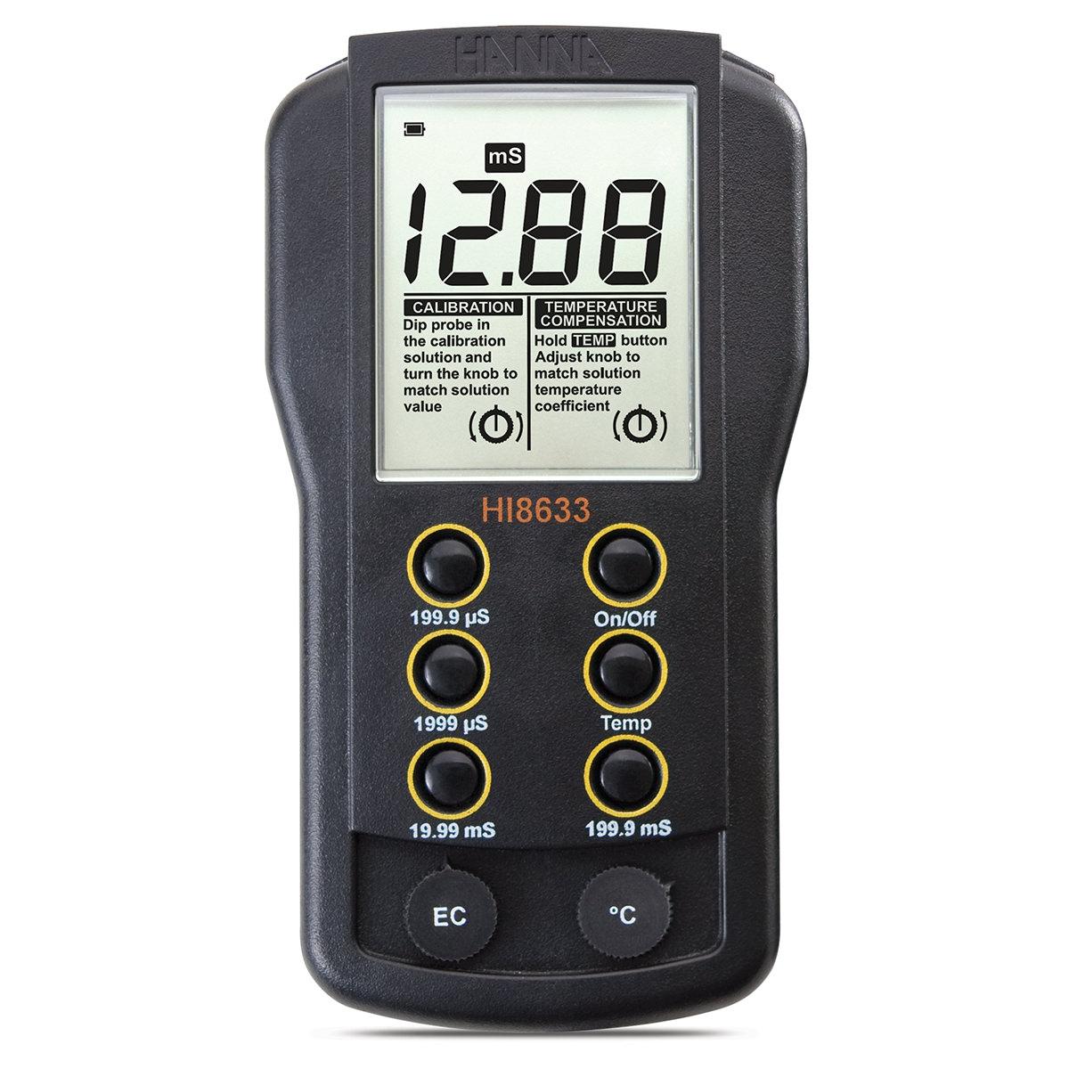 Medidor de CE de Rango Múltiple con Compensación Manual de Temperatura - HI8633