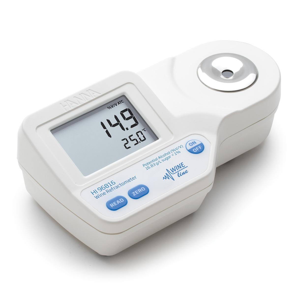 Refractómetro Digital para Análisis de Alcohol Potencial (% V/V) en Vino, Mosto y Jugo Según la CEE - HI96816