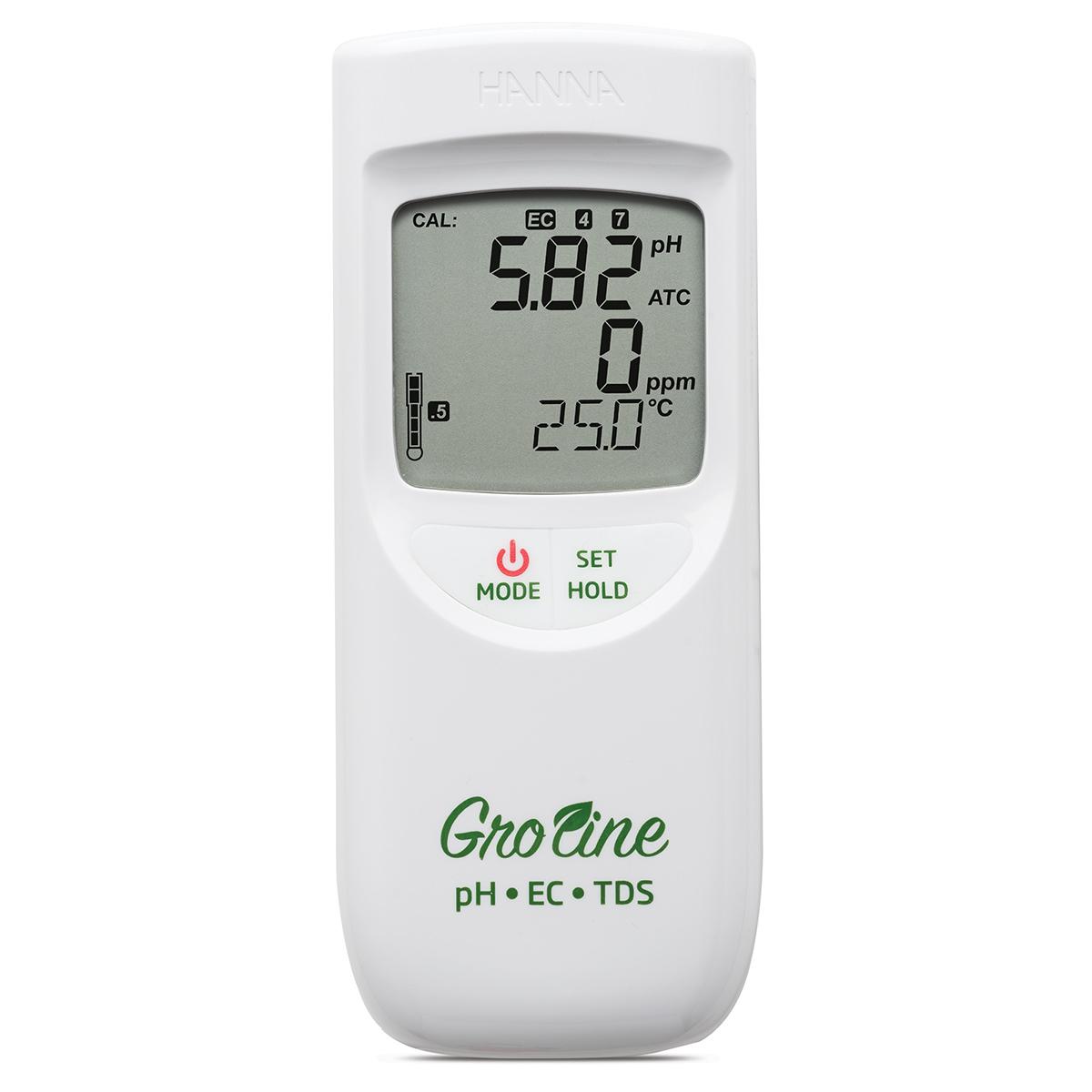 Medidor Portátil e Impermeable de pH / CE / TDS /Temperatura GroLine Hidroponía - HI9814