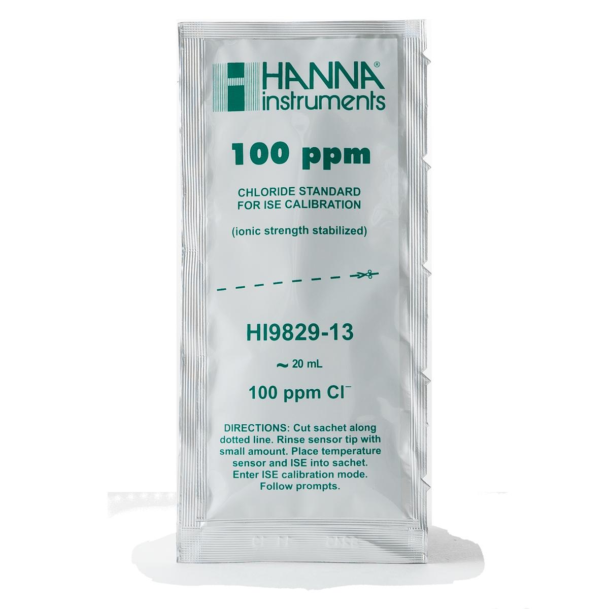 Sobres de Solución Estándar de Calibración de Cloruro de 100 ppm para HI9829 (25 x 25 mL) - HI9829-13
