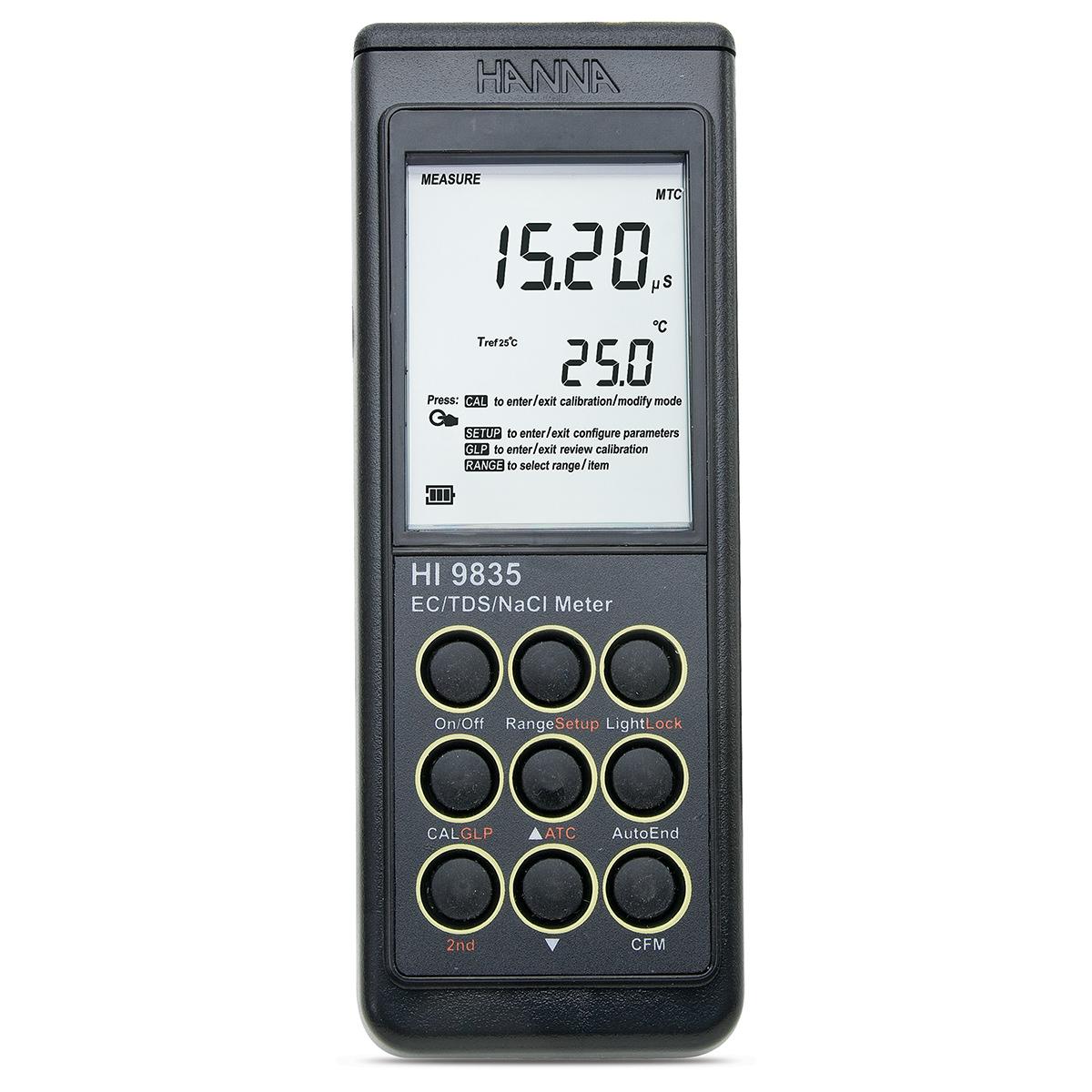 Medidor Portátil para CE / TDS / NaCl / °C - HI9835
