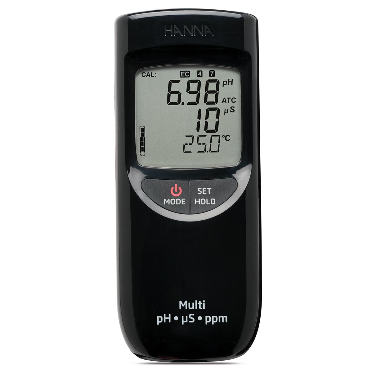 Medidor Portátil e Impermeable para pH / CE / TDS (Rango Bajo) - HI991300