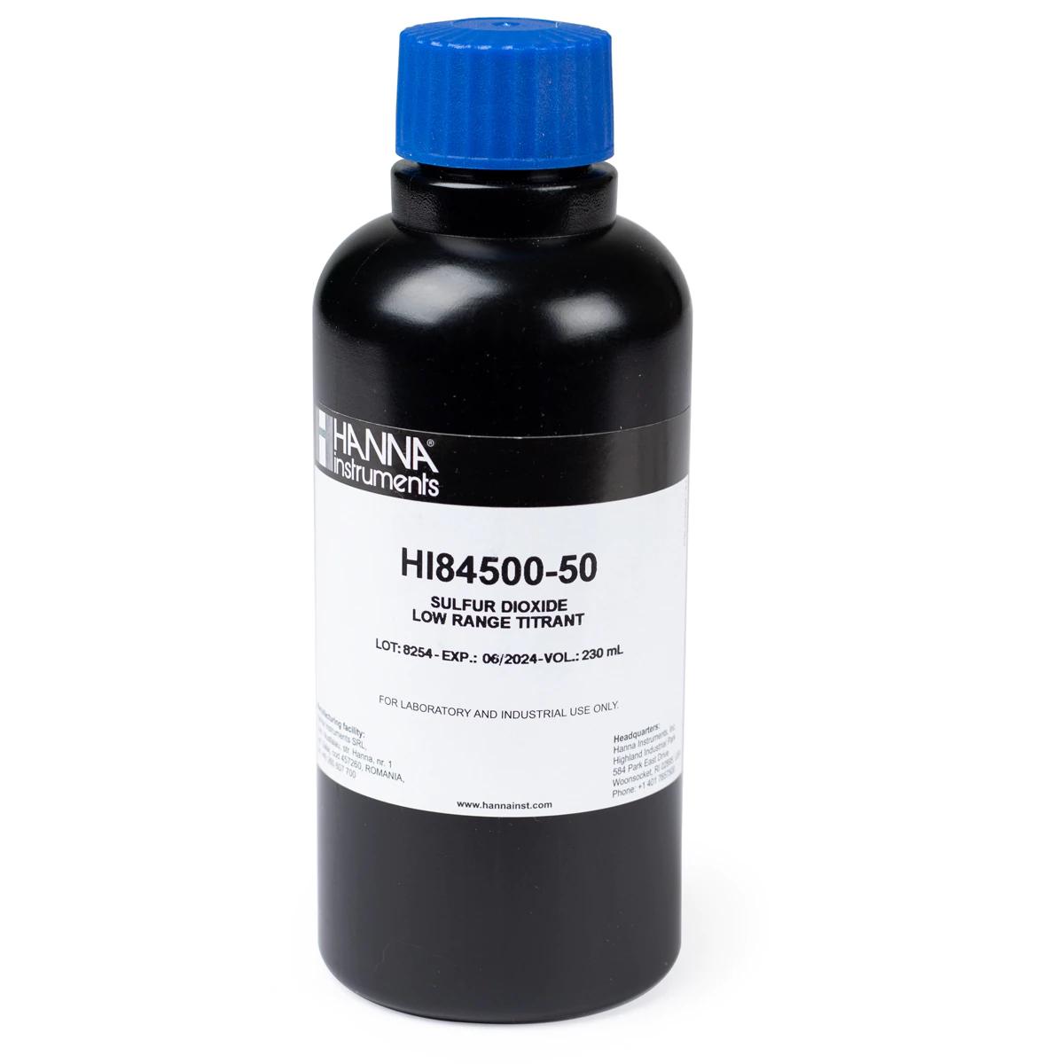 HI84500-50  Titulante de Rango Bajo para Dióxido de Sulfuro en Vinos - HI84500-50(230 mL)