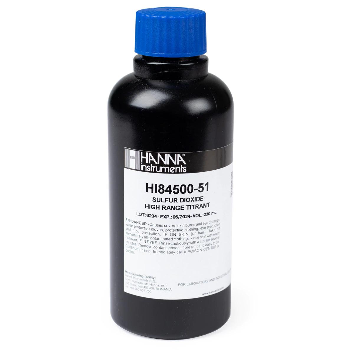 HI84500-51 Titulante de Dióxido de Sulfuro en Vino de Rango Alto (230 mL)