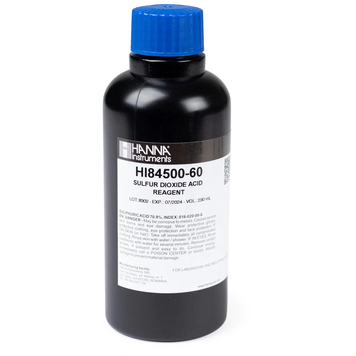 HI84500-51 Titulante de Dióxido de Azufre de Alto Rango para Vino (230 mL)