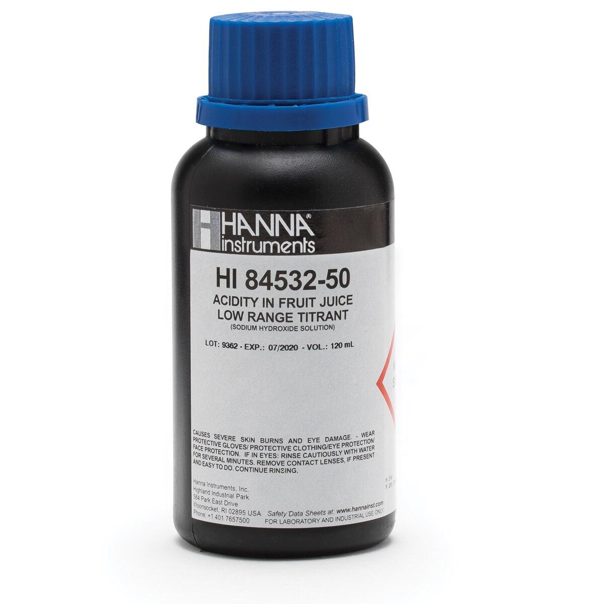 Titulante de Rango Bajo para Acidez Titulable en Mini Titulador para Jugo de Fruta (120 mL) - HI84532-50