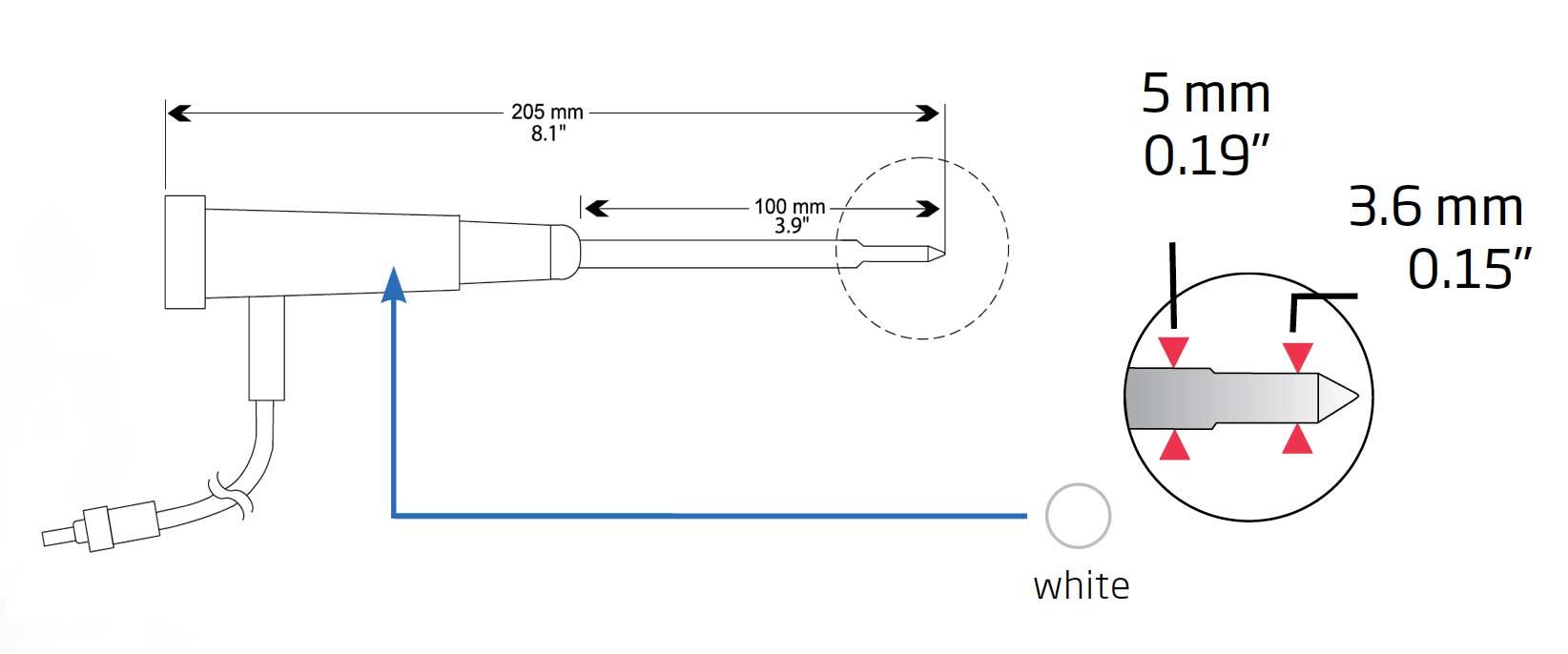 HI765PWL temperature probe